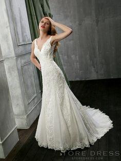 Luxury A-line V-neck Lace Wedding Dress at Storedress.com