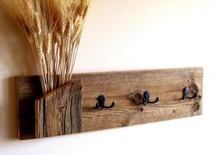 Rustic / Reclaimed / Barn Wood Wall Hung Coat Rack / Hat Rack / Key Rack / Towel Rack. $55.00, via Etsy.