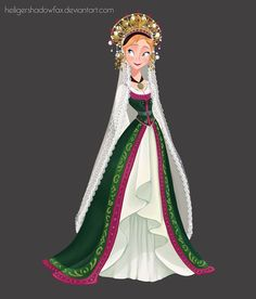 "Norwegian Bride by Blatterbury last bride dress for Anna. This time I had a ot of fun drawing and coloring a ""folk"" norwegian bride's dress. A lot of colors and details! Hope you like it, I think Anna looks adorable in this outfit! Disney Princess Art, Frozen Princess, Disney Fan Art, Disney Love, Disney Belle, Disneyland Princess, Disney Artwork, Princess Anna, Walt Disney"