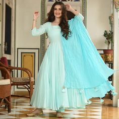 This elegant soothing sea suit set with crushed dupatta and silver bijiya tassels will help you feel elegant and modest at any occasion. Indian Gowns Dresses, Indian Fashion Dresses, Dress Indian Style, Indian Designer Outfits, Flapper Dresses, Indian Outfits, Stylish Dresses For Girls, Stylish Dress Designs, Designs For Dresses