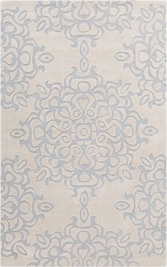 Hand tufted rug from the Mamba Collection is soft and delicate in gray and slate. By Surya. (MBA-9012)