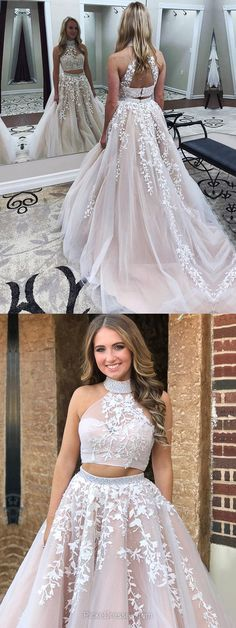 Two Piece Prom Dresses,Long Prom Dresses,2018 Prom Dresses For Teens,A-line Prom Dresses Halter, Tulle Prom Dresses Beading #twopiece
