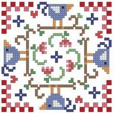 Birds biscornu pattern
