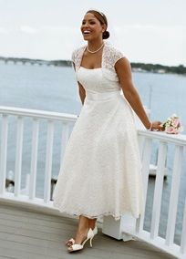 Strapless Lace Tea-Length Cap Sleeve Gown Style 9T9948  David's Bridal Woman