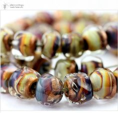 Glass lampwork beads Raku Gold Strand 40 handmade for artisan jewelry designs