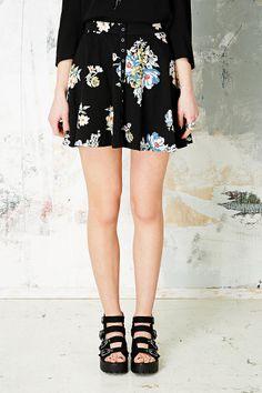 Kimchi Blue Snap Front Skater Skirt in Black