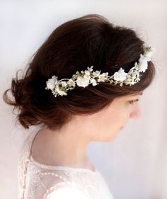 high end bridal hair accessories, white bridal circlet, bridal halo, hair vine headpiece -MAEVE- floral hair accessories, hair garland on Etsy, £51.85