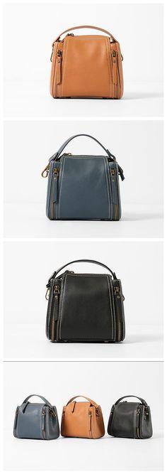 Handmade Top Grain Leather Women's Fashion Handbag Shoulder Bag Small Satchel WY01