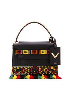 Valentino Garavani My Rockstud Small Jamaican Top Handle Satchel Bag Black Multi