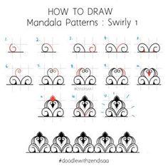 zendisaa - Mandala Doodle Artist Informations About Ummu-Majeed on Ins Mandala Doodle, Mandala Art Lesson, Mandala Dots, Mandala Drawing, Mandala Painting, Mandala Pattern, Doodle Patterns, Henna Patterns, Zentangle Patterns