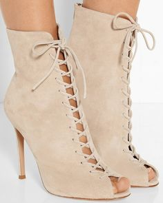 Gianvito Rossi Lace-up suede ankle boots FB