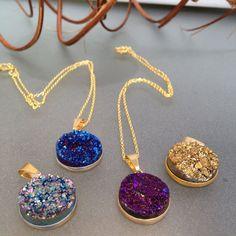 Sparkling round druzy pendant coin necklace on by LaDiiDaDiiDa