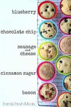 Easy Pancake Muffins with pancake mix, maple syrup & toppings of your choice