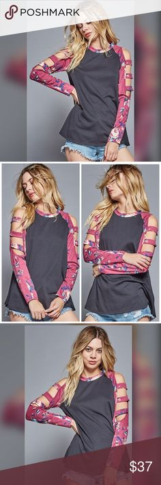 PREORDER Charcoal gray floral ladder sleeve top! A knit top featuring a round neck, a floral printed long sleeves with cutout detail. This top is made with a medium weight knit fabric that has a great stretch-ability and a soft touch. Tops