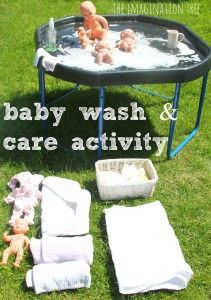 Baby Doll Washing and Caring Activity - The Imagination Tree - - Set up this fun baby doll washing activity for toddlers and preschoolers to enjoy. Great role play for developing personal, social and emotional skills! Eyfs Activities, Infant Activities, Summer Activities, Classroom Activities, Family Activities, Classroom Ideas, Social Emotional Development, Baby Development, Baby Doll Play