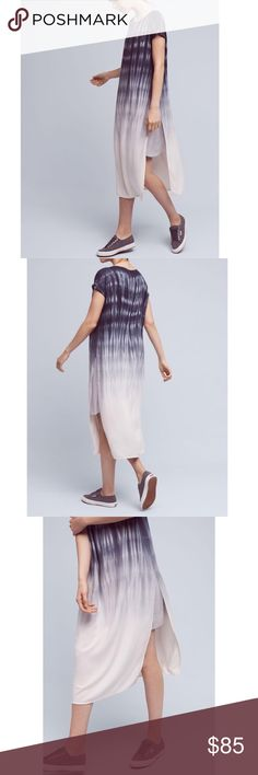 """Anthropologie Horizon Fade Dress Anthropologie Cloth & Stone Horizon Fade Dress. Easy lines and vertical tie-dye stripes create the ultimate canvas. Go edgy with a Moto jacket and boots. Go casual with clogs or sneakers. Top with a denim jacket or your favorite cardigan. Simple in design, this dress is all about texture and color. Blue fades into white/gray. Single side slit makes this bicycle and dance friendly. Attached slip. Underarm to underarm 20.5"""", length 49"""" approximately. 100%…"""