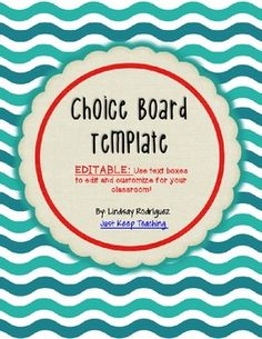 Choice board template editable for literacy stations centers choice board template editable for literacy stations ce pronofoot35fo Gallery
