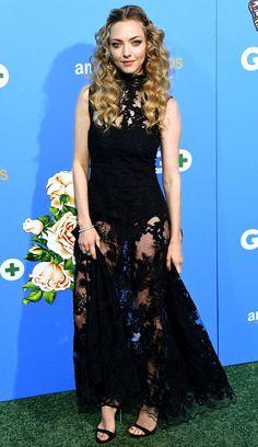 Amanda Seyfried in a black sheer lace dress