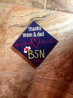 Nursing grad cap thanks mom and dad