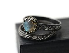 Labradorite Wedding Set, Renaissance Style Engagement Ring Set of Two, Oxidized Silver Women's Natural Stone Jewelry, Custom Engraving