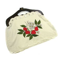 """Vintage '70s Large Strawberry/Daisy Embroidered Purse, Wood Handle"" by BoomerangVT on Etsy is no longer available at the click-through. It was so very nostalgic for me, however, that I had to pin it. I had and loved a purse like this, with the changeable covers... may still have it somewhere, truth be told..."