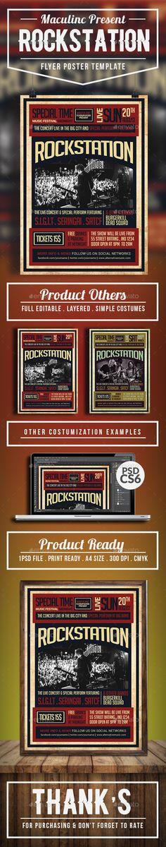 #Rock #station #Flyer #Poster #template Vol.4 - Concerts Events #design. download: https://graphicriver.net/item/rockstation-flyerposter-vol4/20317702?ref=yinkira