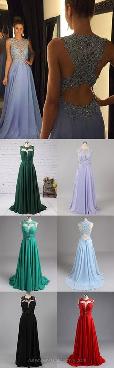 Long Formal Evening Dresses, A-line Chiffon Prom Dresses with Sweep Train, Sexy Prom Dresses with Lace Appliques, Open Back Prom Dresses