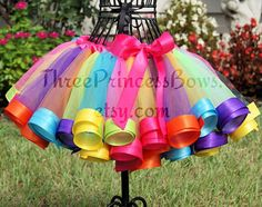 Candy Land Rainbow Ribbon Tutu Candy Birthday by ThreePrincessBows