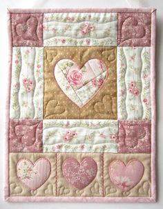 Heart Wall Hanging Heart Quilt Shabby by LittleTreasureQuilts, $65.00