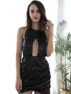 1a40118cd9 Wholesale Sexy Backless Sequined Hollow Out Pleated Halter Dresses  EYG082071