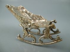 Antique Dutch Rococo 18c Style Solid Silver Dollhouse Miniature Rocking Chair #2