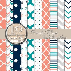 coral navy turquoise digital paper for scrapbooking backgrounds