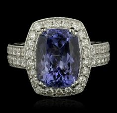 14KT White Gold 5.57ct Tanzanite and Diamond Ring A5111 : Lot 561
