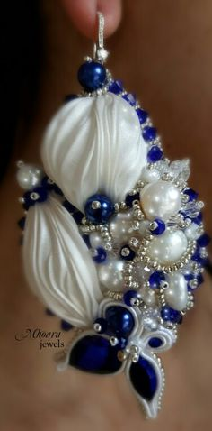 ' Grecia ' shibori silk earrings white & blue navy designed by Mhoara Jewels