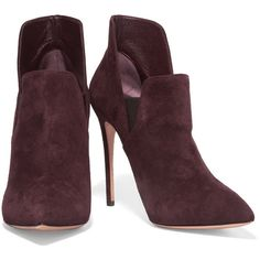 Casadei Suede ankle boots ($330) ❤ liked on Polyvore featuring shoes, boots, ankle booties, booties, high heel booties, slip on boots, pointy-toe ankle boots, suede booties and pointed toe booties