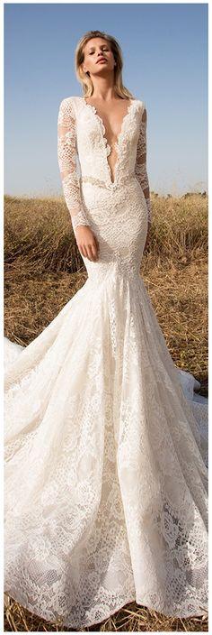 Elegant Lace V-neck Neckline Mermaid Wedding Dresses With Lace Appliques