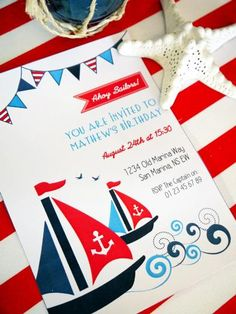 Hostess with the Mostess®      Preppy Nautical Party  Invitation