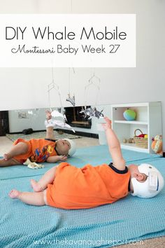A DIY Montessori whale mobile with older baby