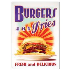 Burgers and Fries Sunburst Metal Sign   Vintage Style Diner Decor   RetroPlanet.com