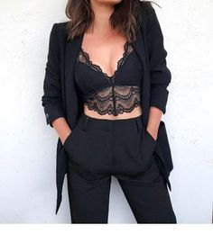 Nice lace crop top and a suit