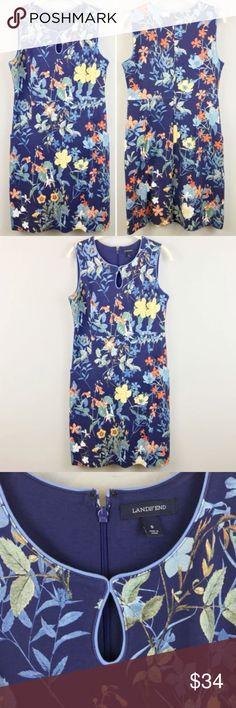 """Lands End Sheath Dress 8 Blue Floral Keyhole Lands End Sheath Dress 8 Blue Floral Sleeveless Keyhole Cotton Blend Womens  18.5"""" pit to pit 32"""" waist 38"""" length  032418-J-5 Lands' End Dresses Midi"""