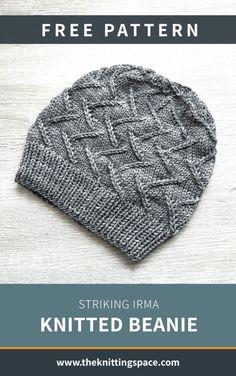 Striking Irma Knitted Beanie [FREE Knitting Pattern]- Craft this simple yet st. - Striking Irma Knitted Beanie [FREE Knitting Pattern]- Craft this simple yet striking knitted bean - Beanie Knitting Patterns Free, Knit Beanie Pattern, Baby Hats Knitting, Easy Knitting, Loom Knitting, Knitted Hats, Crochet Patterns, Simple Knitting Projects, Baby Hat Knitting Patterns Free