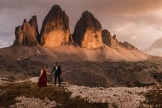 The iconic lime-stone formations in parco naturale Tre Cime - just one beautiful location to elope in the Dolomites! Elopement Inspiration, Elopement Ideas, Elope Wedding, Elopement Wedding, Wedding Bells, Adventure Couple, Mountain Elopement, Helicopter Tour, South Tyrol