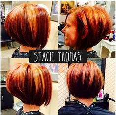 Stacked and layered bob hairstyle in shades of red with blonde streaks