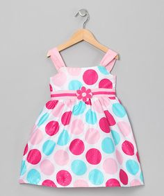 Take a look at this Pink & Aqua Flower Polka Dot Dress - Infant, Toddler & Girls by Longstreet on #zulily today!