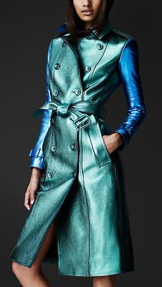 Burberry Prorsum Metallic Leather Trench Coat