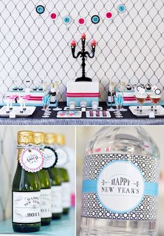 Hollywood Glam New Years party printables/ideas New Years Eve Day, New Years Party, Nye Party, Party Time, Gold Party, Party Printables, Mini Champagne Bottles, Hollywood Party, Ideas Para Fiestas