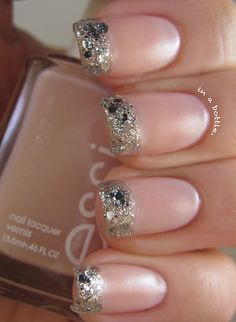 Gems in a Bottle: Bejeweled French Nails (Essie Vanity Fairest & OPI Crown Me Already) French Nails Glitter, Fancy Nails, Pretty Nails, Glitter Nails, Silver Glitter, Sparkly Nails, Bling Nails, Nail French, Pink Sparkly
