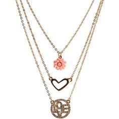 Aeropostale Love Tiered Short-Strand Necklace ($7) ❤ liked on Polyvore featuring jewelry, necklaces, gold, gold charm necklace, heart shaped necklace, gold chain necklace, heart chain necklace and heart necklace