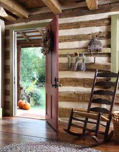 House Tours : A Timeless Log Home LOVE the hand-hewed chinked logs! design room design design design decorating before and after Log Cabin Living, Log Cabin Homes, Old Cabins, Cabins And Cottages, Little Cabin, Cabin Interiors, My Dream Home, Decoration, Tiny House